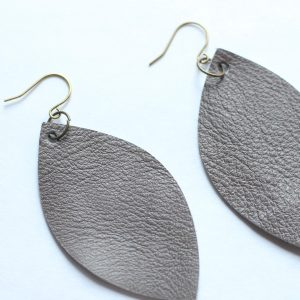 Grey Leather Leaf Earring
