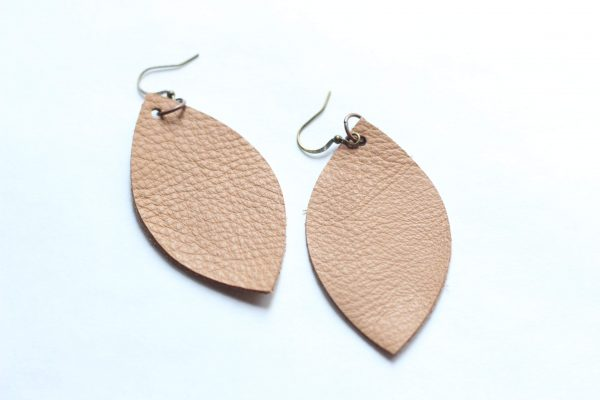 Light Brown Leather Leaf Earring