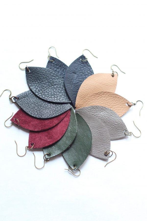 Grey Leather Leaf Earring